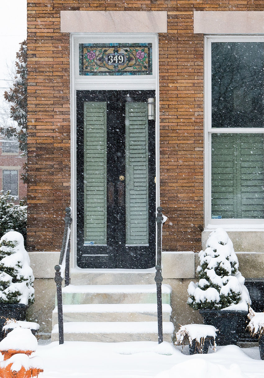 home exterior - front door on a snowy day