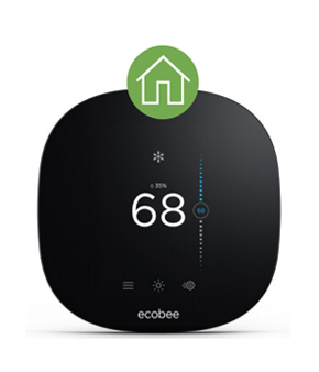 ecobee3 lite thermostat with house icon - set to 68 degrees