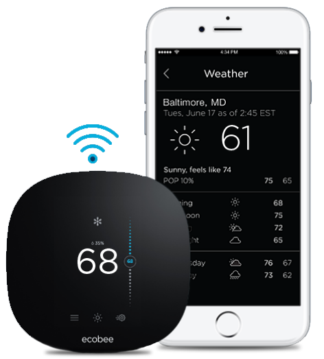 ecobee2 lite thermostat with mobile app