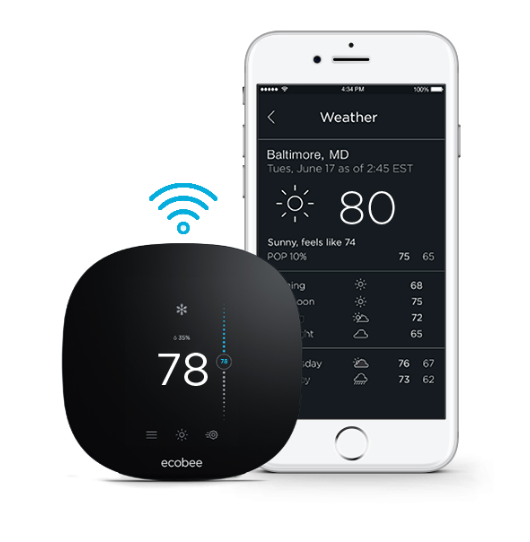ecobee3 smart thermostat with iphone